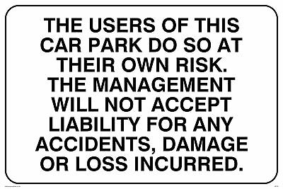 Tenants car park disclaimer sign 5578BKY extremely durable and weatherproof