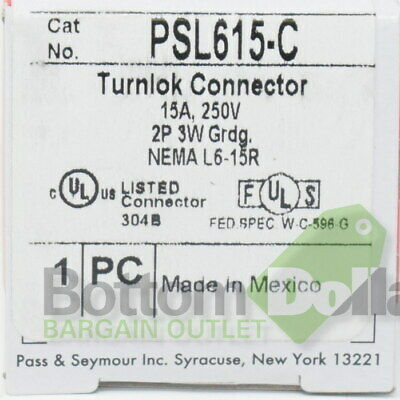 Legrand Pass & Seymour PSL615-C 15A 250V 2P 3W Grounding Turnlok Connector