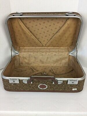 "Vintage AMELIA EARHART TWEED Suitcase Luggage HardCase Brown 21""x14""x8"" W/key"