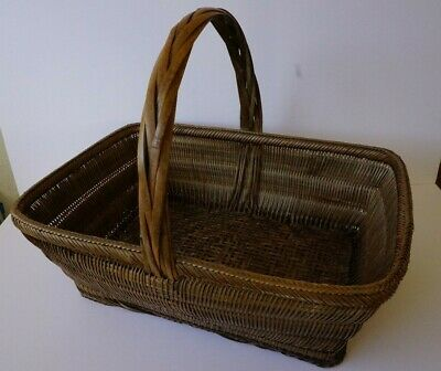 Antique Chinese Bamboo Gathering Basket with Handle