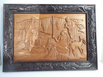 """Antique Chinese Wooden  Hand Carving Framed In Panel Dragon Frame 24"""" X 17 1/4"""""""