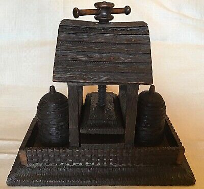 ANTIQUE GERMAN BLACK FOREST CARVED Playing Card Press GAMBLING ACCESSORY  ca1900