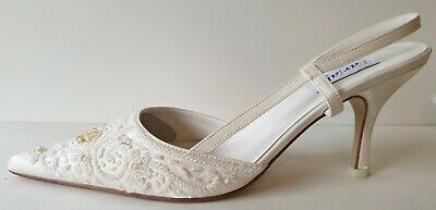 Farfalla Embroidered Satin Evening Party Wedding Shoes 50510 IVORY Sizes 4-8