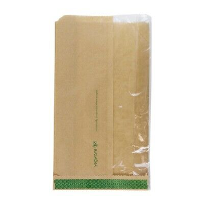 Vegware Compostable Kraft Greaseproof Food Bags With PLA Window 280 x 150mm (Pac