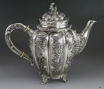 Vintage 1942 Beautifully Hand Chased Finnish Silver Teapot