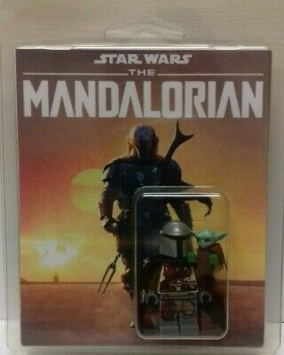 Custom Lego Star Wars The Mandalorian and The Child figures with display box