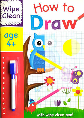 NEW Wipe Clean HOW TO DRAW Book with PEN Age 4+ Ready for School Learning 2020