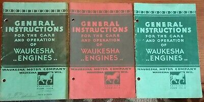 Lot of 3 old manuals for care, operation of Waukesha engines