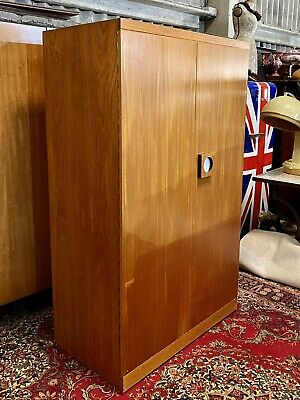 Rare Mid Century Vintage Teak Fitted Retro Wardrobe Armoire By Uniflex Furniture
