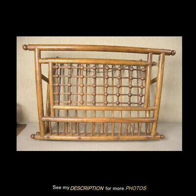 Antique Oak Ball and Stick Wall Magazine / Sheet Music Rack