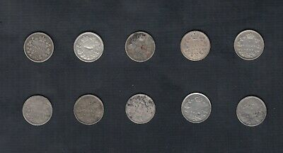 (1858-1901) Canada Silver 5 Cents Lot Of 10