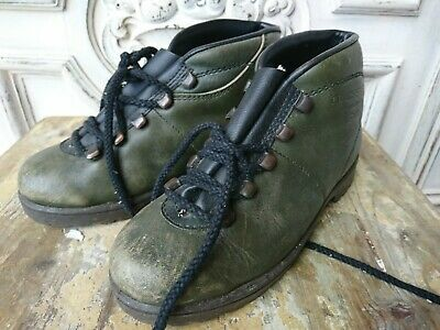 Antique Kids Shoes Vintage Mountain Boots Berschschuhe Dachstein Leather Size 34