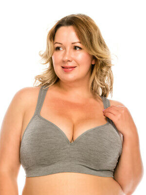 Yomita Plus Size Sports Bra Gray 1XL