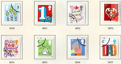 GB QE II: 2015 SG 3670 -  3677 Smilers S/A Booklet stamps 5th series VFU