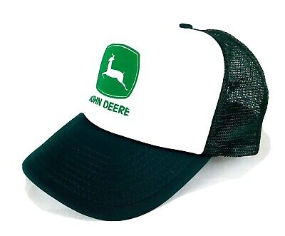 Vintage Official John Deere Logo Green and White Adjustable Fit Trucker Hat Cap