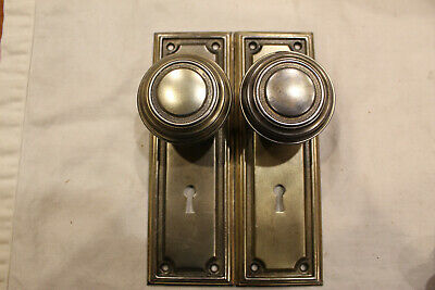One Set of Bronze Plated Rectangular Steel Escutcheons With Matching Knobs