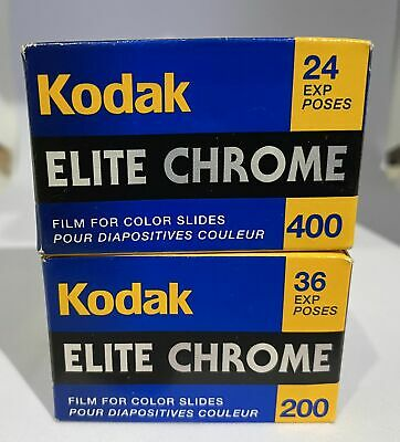 2 Rolls Kodak Elite Chrome Slide Film 35mm 200/400 ISO Expired  New