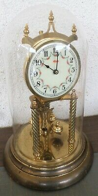 Old Rare German Kundo Brass & Glass 400 Day Anniversary Mantel Clock!