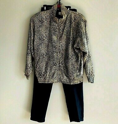 Vtg  Leopard Print Silk Tracksuit Size Small Pockets Full Zip Jacket Black Pants
