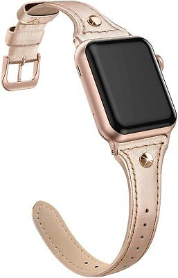 Genuine Leather Band Compatible for Apple Watch 38mm 40mm, Slim Thin Dressy