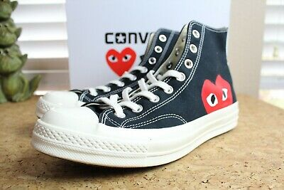 Converse x Comme des Garcons Black Chuck Taylor Highs Sneakers Size 10 CDG Play
