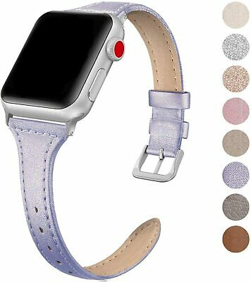 Leather Band Compatible for Apple Watch iWatch 38mm 40mm, Slim Thin Dressy