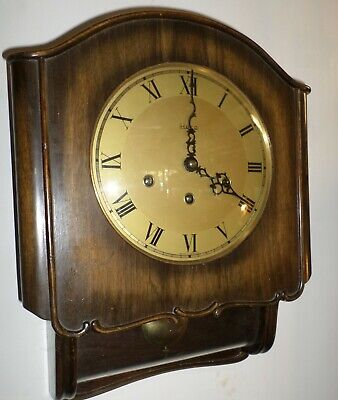 Very Nice German Rare Friedrich Mauthe Westminster Chime Wood Glass Wall Clock!