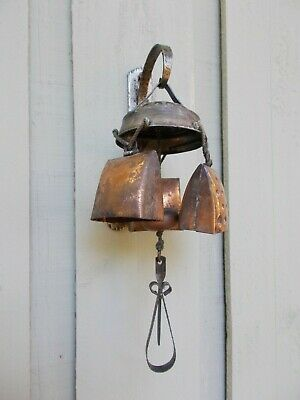 Lovely Vintage Swiss Alpine Cow/Goat Bell Door/Wind Chimes + Mounting Bracket