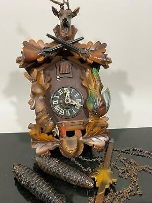 Vtg Germany Carved Black Forest ? Wood Bird Classic Cuckoo Clock- For Repair