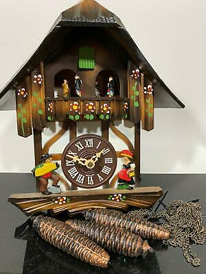 Vtg Germany Carved Black Forest Wood Classic Cuckoo Clock Thorens Movement