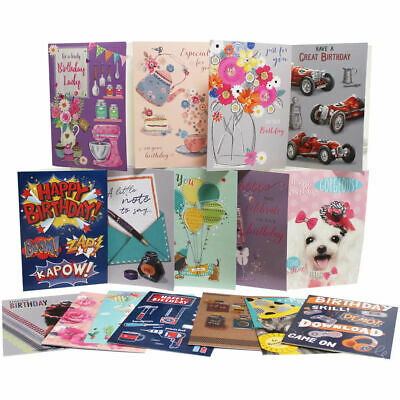 Pack of 6 Assorted Male Female Ladies Mens Birthday Cards Floral Fishing Cards