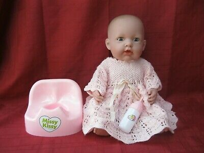 BERENGUER 40cm MISSY KISSY DRESSED DOLL WITH POTTY & BOTTLE