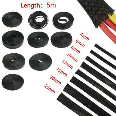 5/1M 4 to 25mm Tight Wire Cable Protection Expandable Insulated Braid Sleeving d