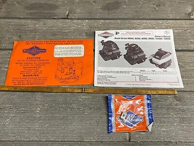 Vintage Briggs & Stratton Owners Manual And Paperwork For Model 9B900 And Others