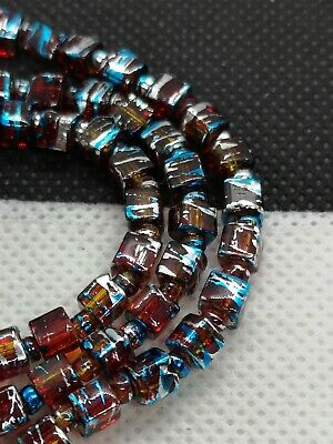 String Red Glass Drawbench 4mm Cube Beads With Silver And Blue Drizzle (MYDB 11)