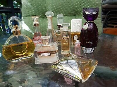 Collectable perfume bottles, choose them for their shape, some almost full