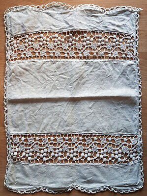 White linen cloth with lace inserts, vintage