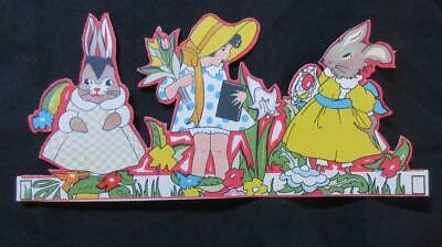 1960's Circa Easter Bunnies Left & Right of Girl with Flowers Cardboard Cut-Out.