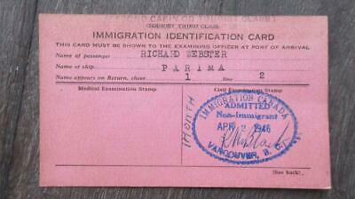 1946 Immigration Identification Card Parima Ship Immigration Vancouver Canada.