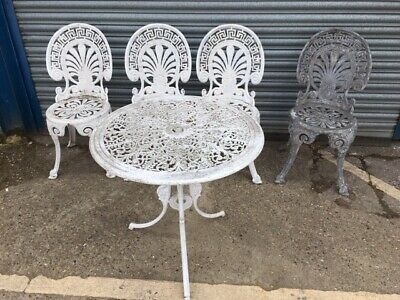 Set of 4 White Aluminium Garden Chairs and a Table