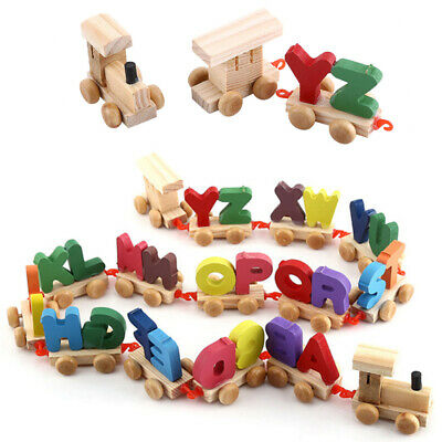Wooden Train Set Alphabet Wood Letters W/Wheels Kids Toddler Educational Toy