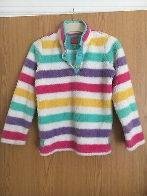 Girls Joules fluffy fleece/jumper white and multi-coloured stripes, age 11-12yrs