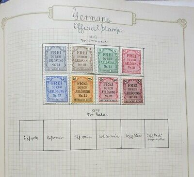 Germany 1903 Mint Official Stamps For Prussia Full Set Of 8 On Album Page