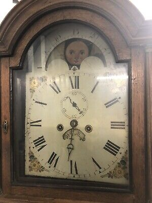 Elegant Long Case Georgian Grandfather Clock with Moving Faces working Condition