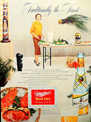 Vtg 1954 Miller beer ad tiki party retro housewife advertisement print art