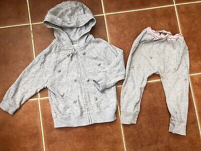 NEXT Girls Grey & Pink Pom Pom Tracksuit Size 1.5-2 Years