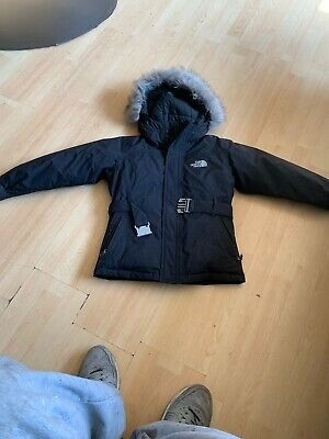 Girls The North Face black warm Goose down filling hooded jacket aged 7-8 yrs