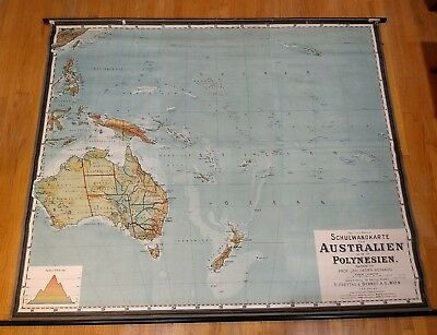 vintage Freytag & Berndt Australia Polynesia Roll Down Canvas Wall School Map