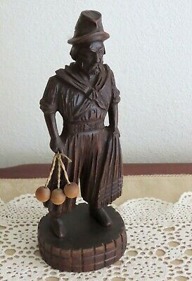 Vintage Hand Carved Wooden Figure of Mongolian Asian Man Figurine