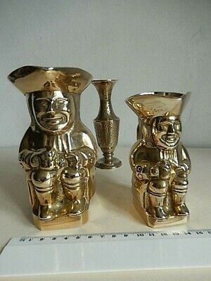 Cast Brass Toby Jugs (2) + hand-engraved Grecian style small (13cm) brass vase